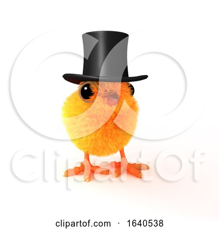 3d Easter Chick in Top Hat Posters, Art Prints