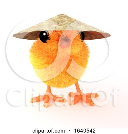 Funny Cartoon 3d Easter Chick Wearing an Oriental Coolie Hat Posters, Art Prints