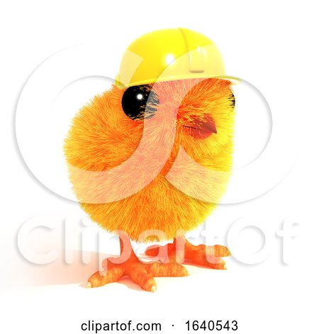 3d Chick Wearing a Builders Hat by Steve Young