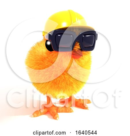 3d Construction Chick in Sunglasses Posters, Art Prints