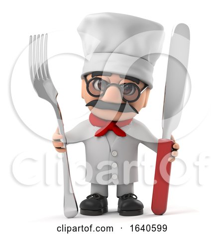 3d Funny Cartoon Old Italian Chef Character Holding a Knife and Fork by Steve Young