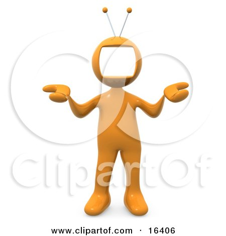 Yellow Person With A Tv Monitor As A Head, Shrugging Clipart Illustration Graphic by 3poD
