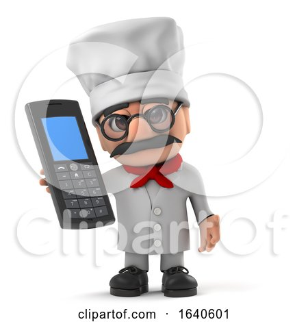 3d Funny Italian Pizza Chef Character Using His Mobile Phone by Steve Young