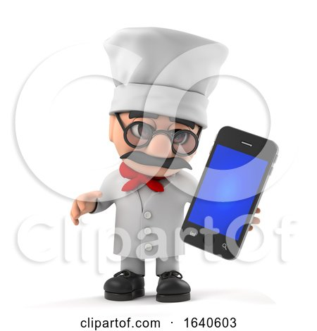 3d Funny Cartoon Italian Pizza Chef Character Has a New Smartphone by Steve Young