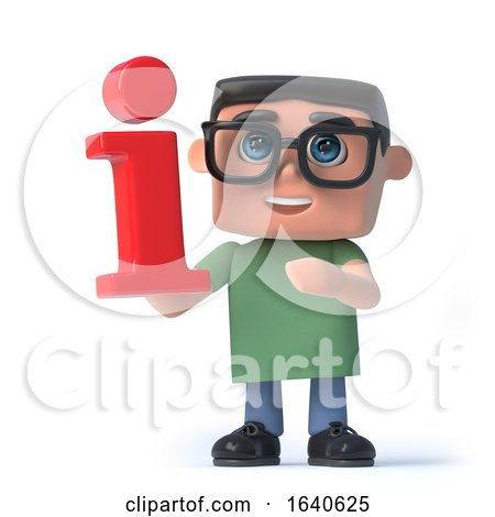 3d Boy in Glasses Holds a Red Information Symbol by Steve Young