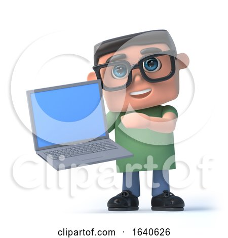 3d Boy in Glasses Holding a Laptop Pc by Steve Young
