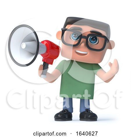 3d Boy in Glasses Using a Megaphone by Steve Young