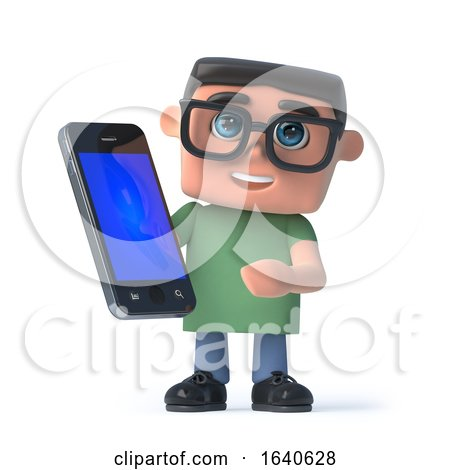 3d Boy in Glasses Holding a Smartphone by Steve Young