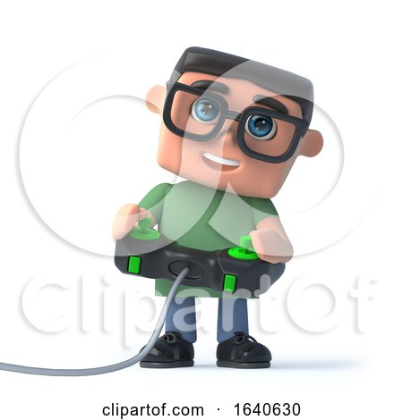 3d Boy in Glasses Plays a Video Game by Steve Young
