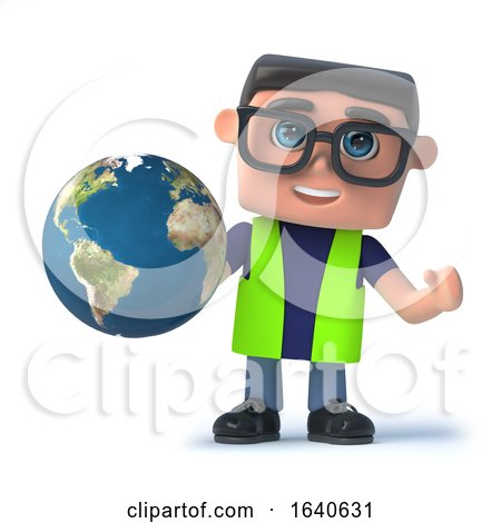 3d Health and Safety Officer Holding a Globe of the Earth by Steve Young