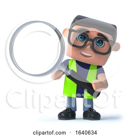 3d Health and Safety Man Using a Magnifying Glass by Steve Young