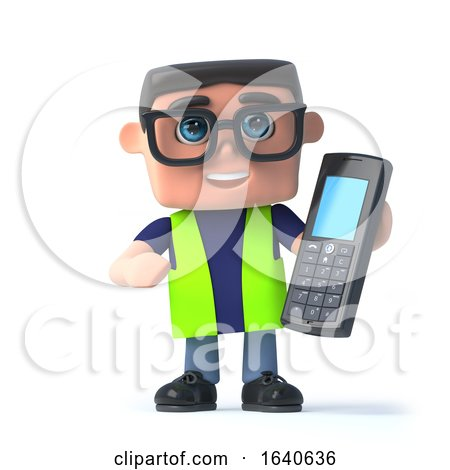 3d Health and Safety Man with a Mobile Phone by Steve Young