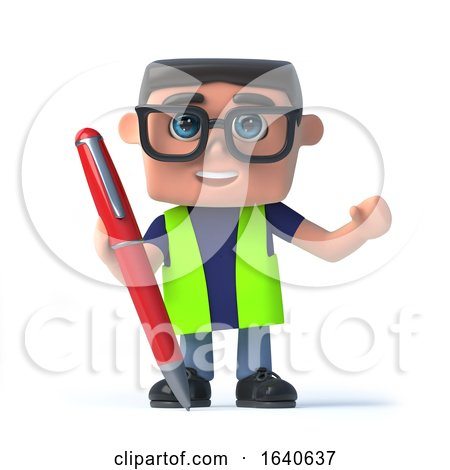 3d Health and Safety Worker Has a Pen Available by Steve Young