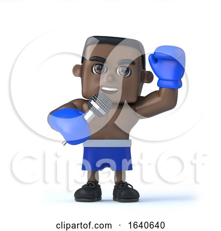 3d Black Boxer Sings into the Microphone by Steve Young