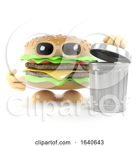 3d Burger with a Waste Bin by Steve Young