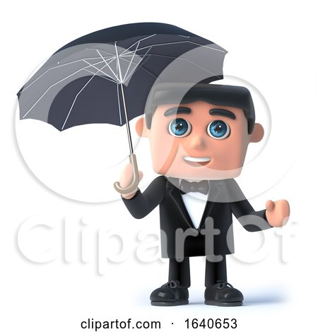 3d Bow Tie Spy Under an Umbrella by Steve Young