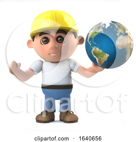 3d Construction Worker Holds the World in His Hands by Steve Young