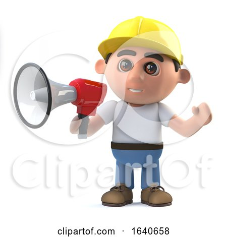3d Construction Worker Shouts Through a Megaphone by Steve Young