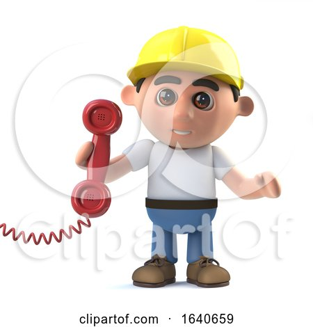 3d Construction Worker Answer the Phone by Steve Young