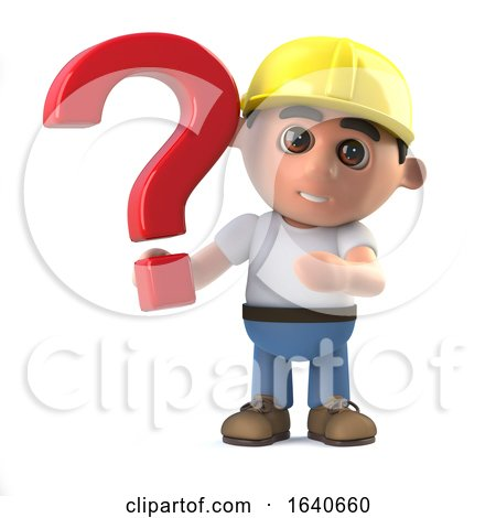 3d Construction Worker Has a Question by Steve Young