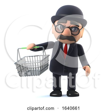 3d Bowler Hatted British Businessman Goes Shopping by Steve Young