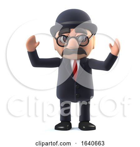 3d Bowler Hatted British Businessman Cheers. by Steve Young