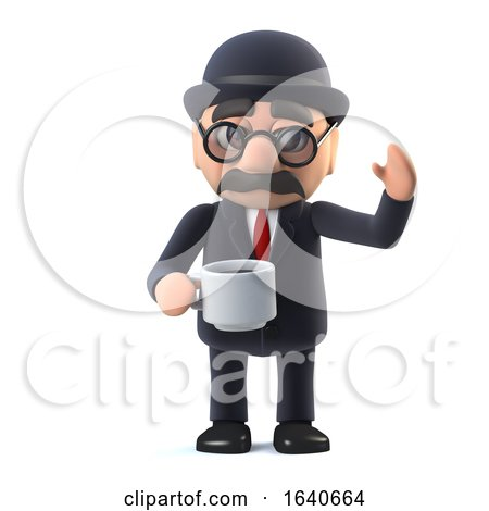 3d Bowler Hatted British Businessman Takes a Break with a Cup of Tea by Steve Young