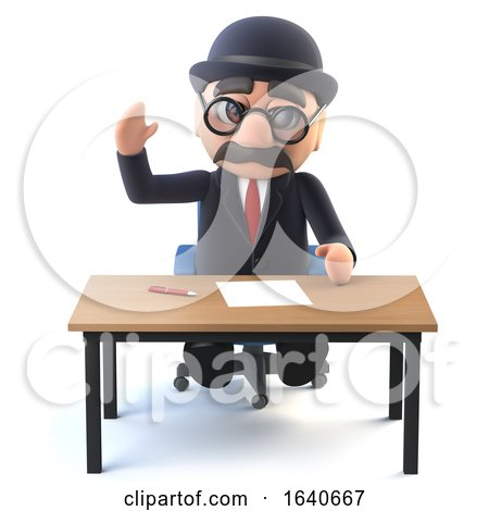 3d Bowler Hatted British Businessman at His Desk by Steve Young