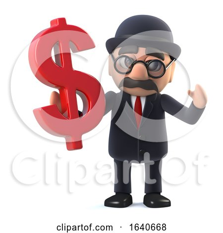 3d Bowler Hatted British Businessman Has US Dollars by Steve Young