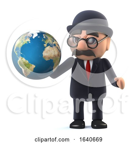 3d Bowler Hatted British Businessman Has the World in His Hands by Steve Young