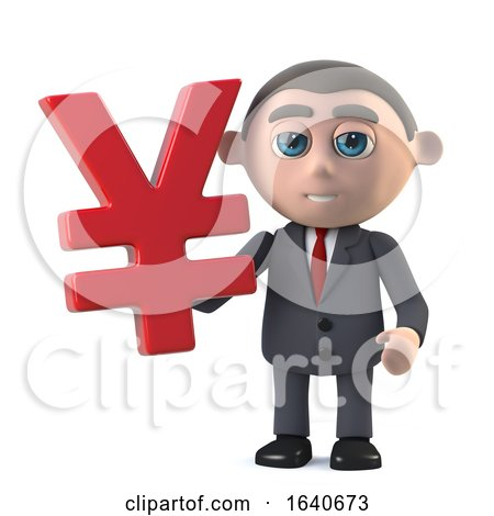 3d Businessman Holding a Yen Currency Symbol by Steve Young
