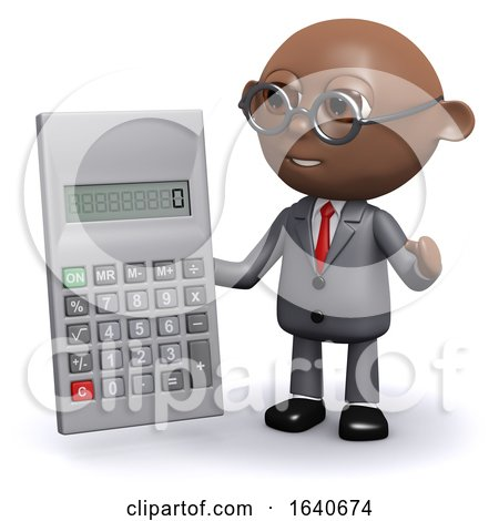3d African American Businessman Does the Sums by Steve Young