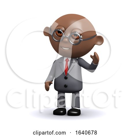 3d African American Businessman Waves Hello by Steve Young