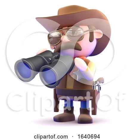 3d Cowboy Looks Through Binoculars by Steve Young