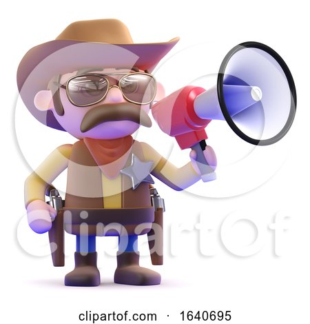 3d Cowboy with Megaphone by Steve Young