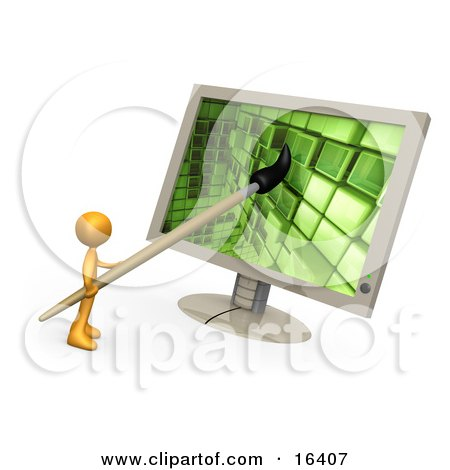 Orange Person, A Cartoonist Or Web Designer, Using A Paintbrush On A Flat Screen Computer Monitor To Create An Image Or To Design A Website Clipart Illustration Graphic by 3poD
