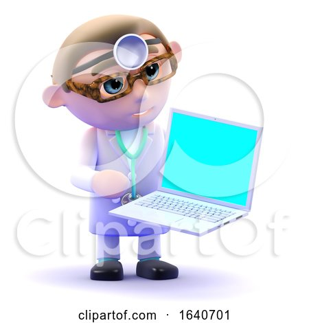 3d Doctor Using a Laptop by Steve Young