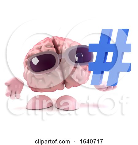 3d Funny Cartoon Human Brain Character Holds a Hash Tag Symbol by Steve Young