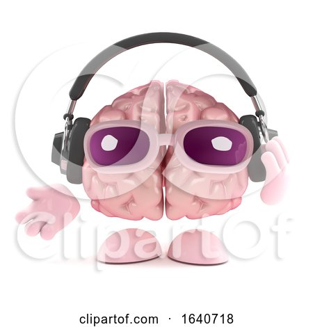 3d Brain Listens to Headphones by Steve Young