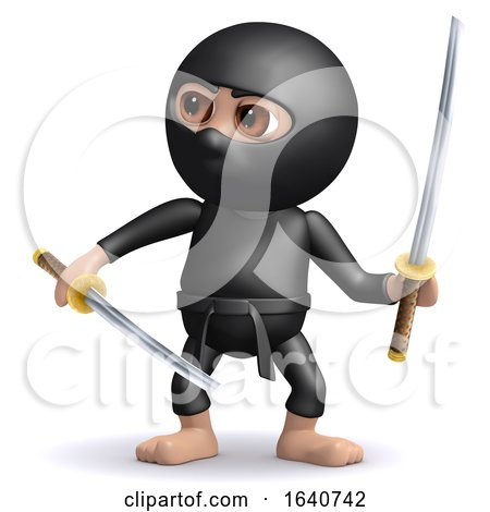 3d Ninja with Two Swords by Steve Young