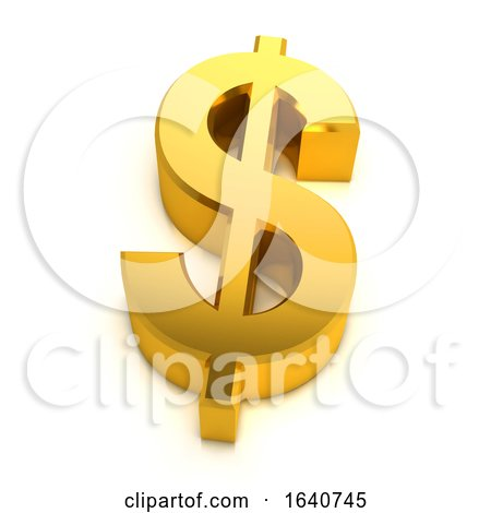 3d Gold US Dollar Symbol by Steve Young