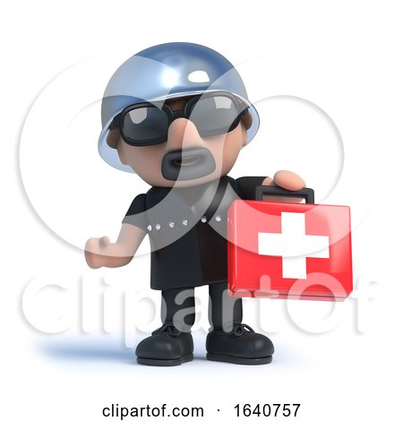 3d Biker Holding a First Aid Kit by Steve Young