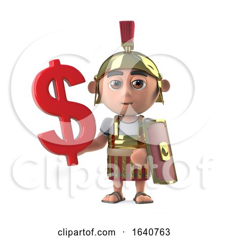 3d Roman Soldier Has a US Dollar Currency Symbol by Steve Young