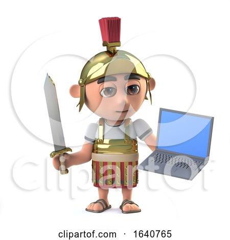 3d Roman Centurion Soldier Has a Laptop Pc Device by Steve Young