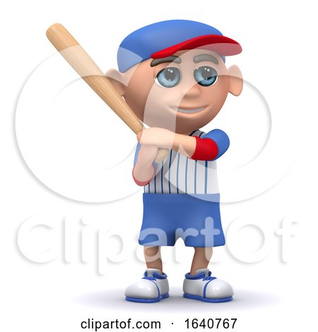 3d Baseball Kid Stands Ready with the Bat by Steve Young