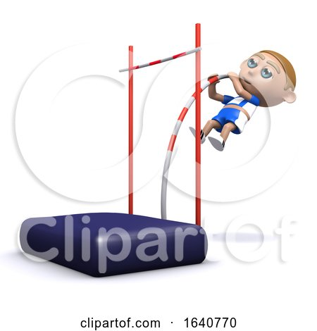 Funny Cartoon 3d Athlete Doing the Pole Vault by Steve Young