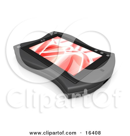 Black Handheld Organizer With a Red Screen Saver Clipart Illustration Graphic by 3poD