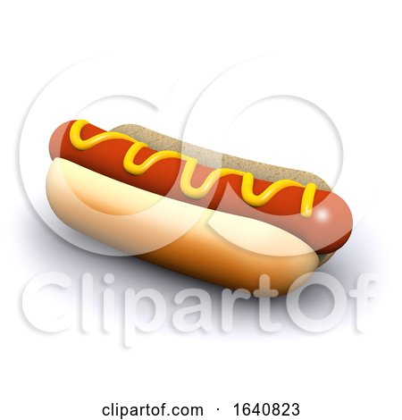 3d Hot Dog in a Bun with Mustard by Steve Young