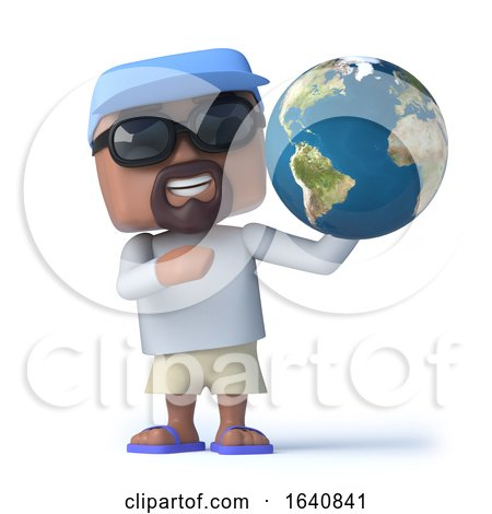 3d Sailor Dude Holds a Globe of the Earth by Steve Young