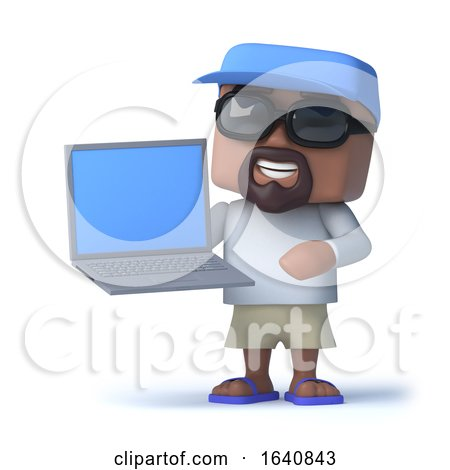 3d Sailor Dude Has a Laptop Pc by Steve Young